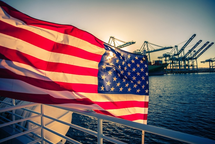 flag on boat for fourth of july